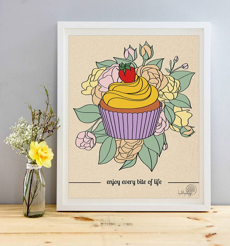 Enjoy every bite of life inspirational quote print, cupcake illustration…