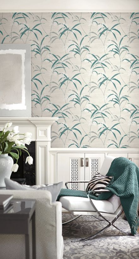 white and teal blossoms wallpaper from naturalux
