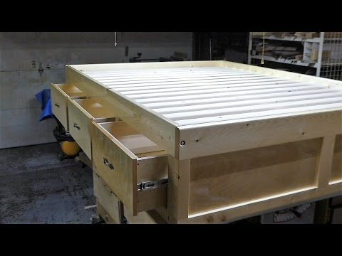 Make a  queen size bed frame with 3 drawers - YouTube