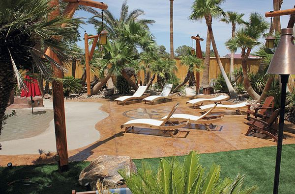Beach Themed Backyard Designs : Concrete Overlay  Stone and Sand Finishes  Las Vegas  CD