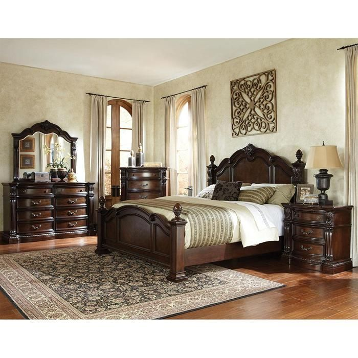 churchill king poster bed in dark cherry nebraska furniture mart