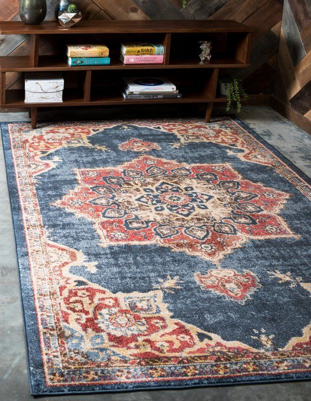 Dulin Persian Inspired Navy Blue Area Rug With Images Area