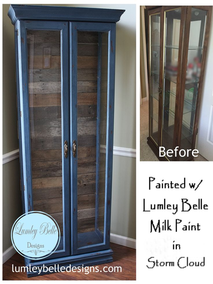 @Lumleybelle  painted curio cabinet with  Lumley Belle Milk Paint in Storm Cloud.  Plank pallet wood back. #reclaimed #lumleybelle #lumleybellemilkpaint #milkpaint #DIY #Plank #Pallet #palletwood #refinish #paint