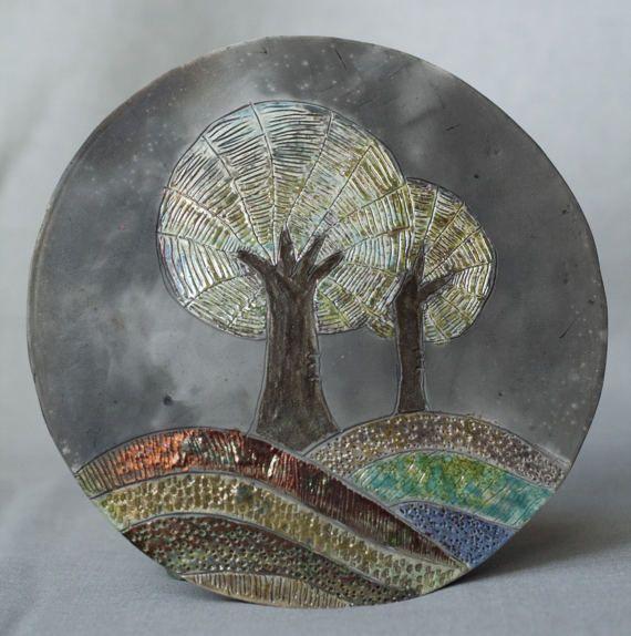 Ceramic picture Trees raku multicolour