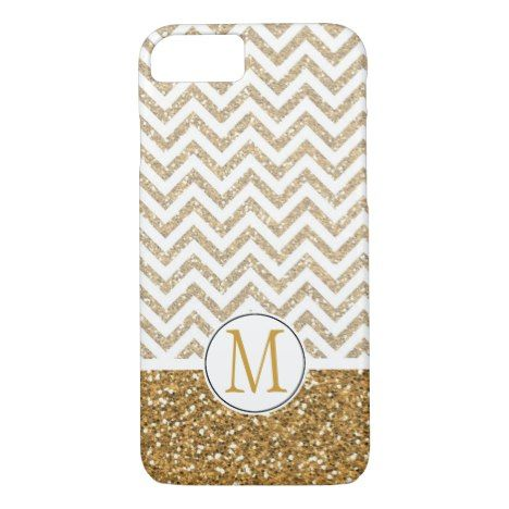 Gold Glam Faux Glitter Chevron Monogram iPhone 8/7 Case