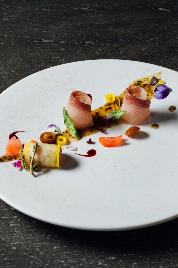 This fantastic sashimi recipe showcases the succulent flesh of hamachi, or yellowtail. Including a luxurious truffle sauce recipe, this vibrant Japanese sashimi by Hideki Hiwatashi makes a beautifully elegant fish starter for a dinner party.