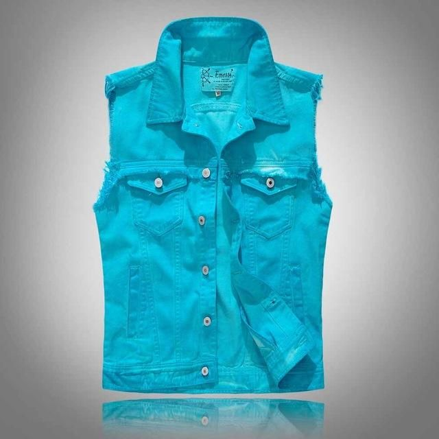 Cloudstyle 2017 New Design Men Vest Spring/Autumn Cowboy Washed Jeans Pocket Sleeveless Blue Vest Fashion Slim Fit