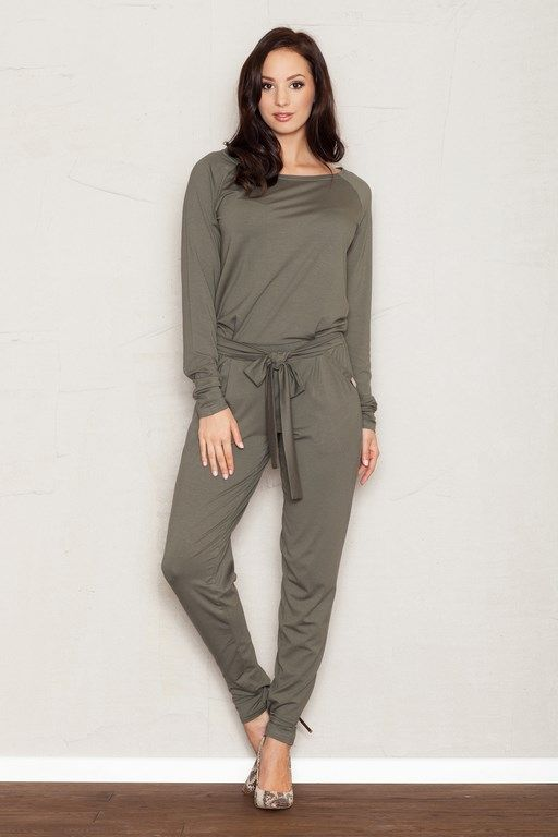 Olive women long jumpsuit with a decorative bow