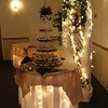 Cake and Gift Table- The Country and Western theme was carried through on the cake table.  The table is under lighted and covered with canvas.  Rope encircles the top and a raffia bow finishes the front of the table.  The cake is a cupcake tree with a floral cake topper.  The backdrop is lighted with entwined horseshoes.