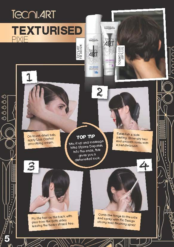 Create this texturised pixie look with Loreal Tecni.Art!