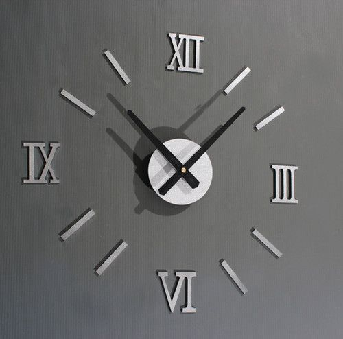 Cupecoy Diy Roman Numeral Wall Clock Silver Metal Look