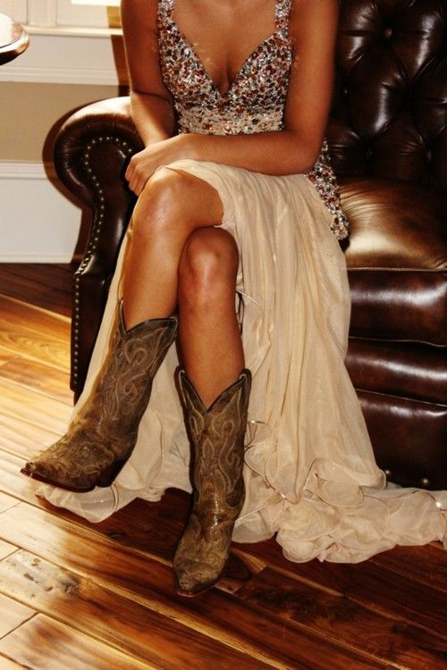 Love the cowboy boots with the fancy dress. This is so happening at my wedding, well, at least for the reception part :)