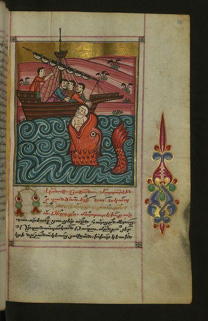 Hymnal, Jonah Cast into the Sea, Walters Manuscript W.547, fol. 46r by Walters Art Museum Illuminated Manuscripts, via Flickr