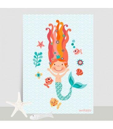 Lámina infantil Sirena divertida