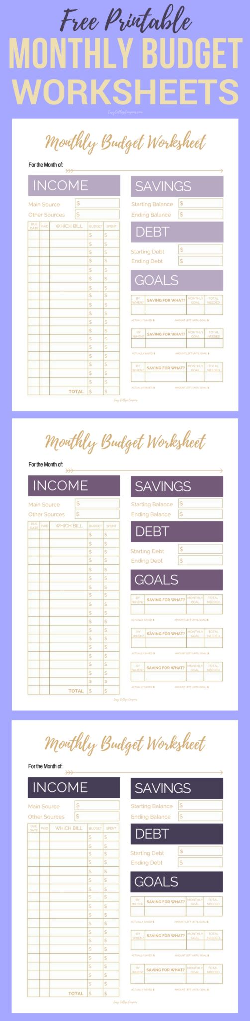 Budgeting worksheets free