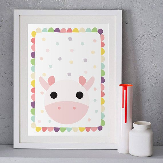 Print on canvas, Baby room decor, Children illustration, Poster print, Kids wall art, Cow painting, Pastel pink, Cute animals, Get one free.  This listing is for an INSTANT DOWNLOAD of 2 PDF files of this artwork. Just purchase the listing and your print is ready to download instantly. Why not print one for a friend, or just for fun?  Once you purchase the poster you will receive the following files:  - 1 PDF high resolution (300 dpi) file with trim marks 8x10 inches. - 1 PDF high…