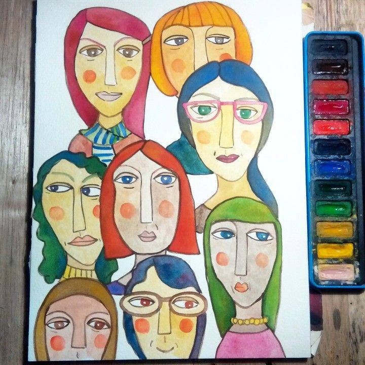 Watercolor drawing on paper by Mia Diwasasri
