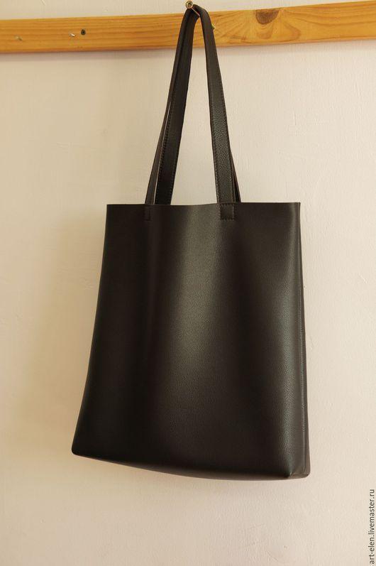 Коричневый. Сумка из натуральной кожи. Большая сумка.Сумка шоппер.