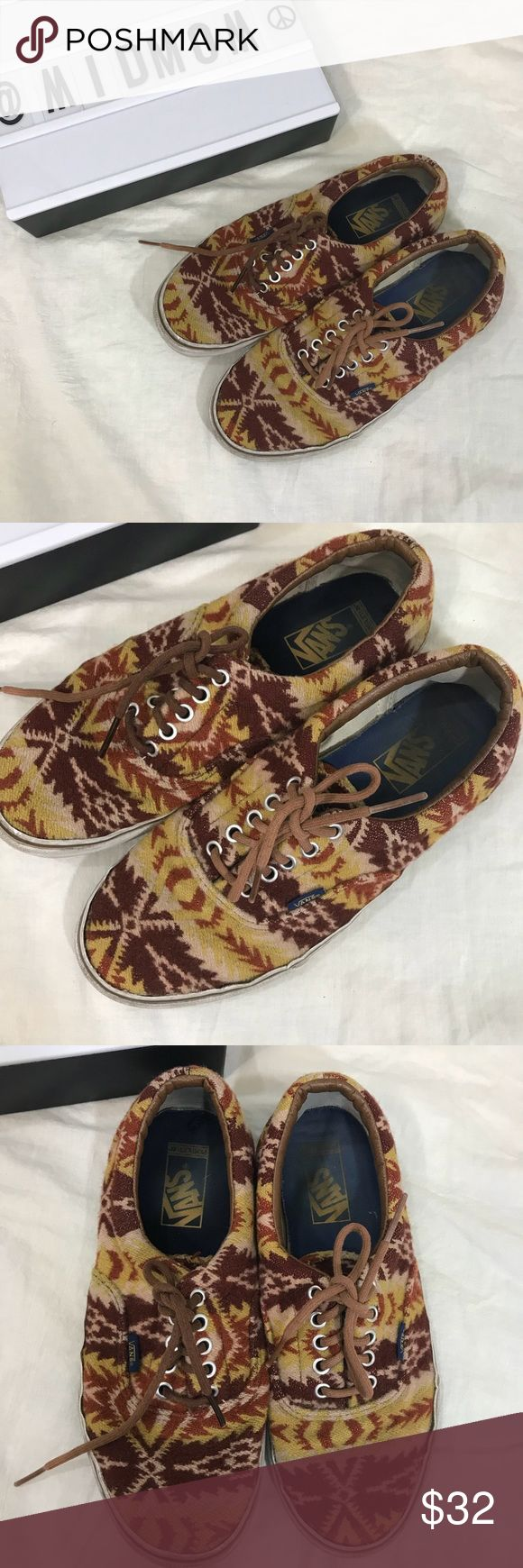 Pendleton Vans Sweet shoes!  I love everything Pendleton!  Wear to white around the edges.  Some staining on footbed.  No smells, washed and clean.  For men's 9.5 women 11 Vans Shoes Sneakers