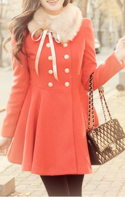 Winter Fashion:: Vintage Pea coat:: Retro style:: Peach Winter Coat:: Staying warm and looking cute!