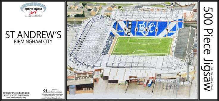 St Andrews - Birmingham City FC by Brian Casey.  500 piece Stadia Art Jigsaw Puzzle including FREE personalised message on the box lid!  Buy now @  http://stores.ebay.co.uk/Sports-Stadia-Art