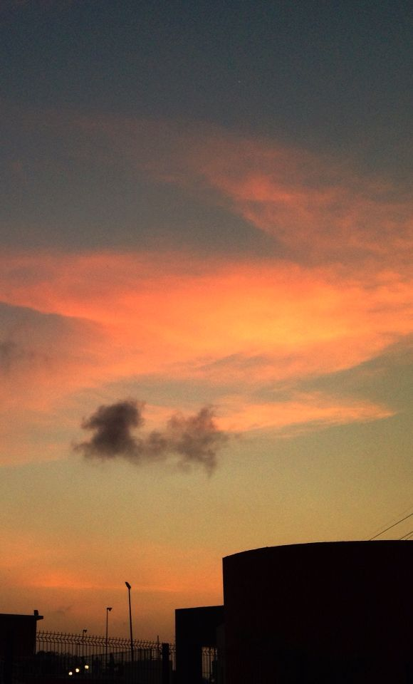 Sunset and toxic cloud