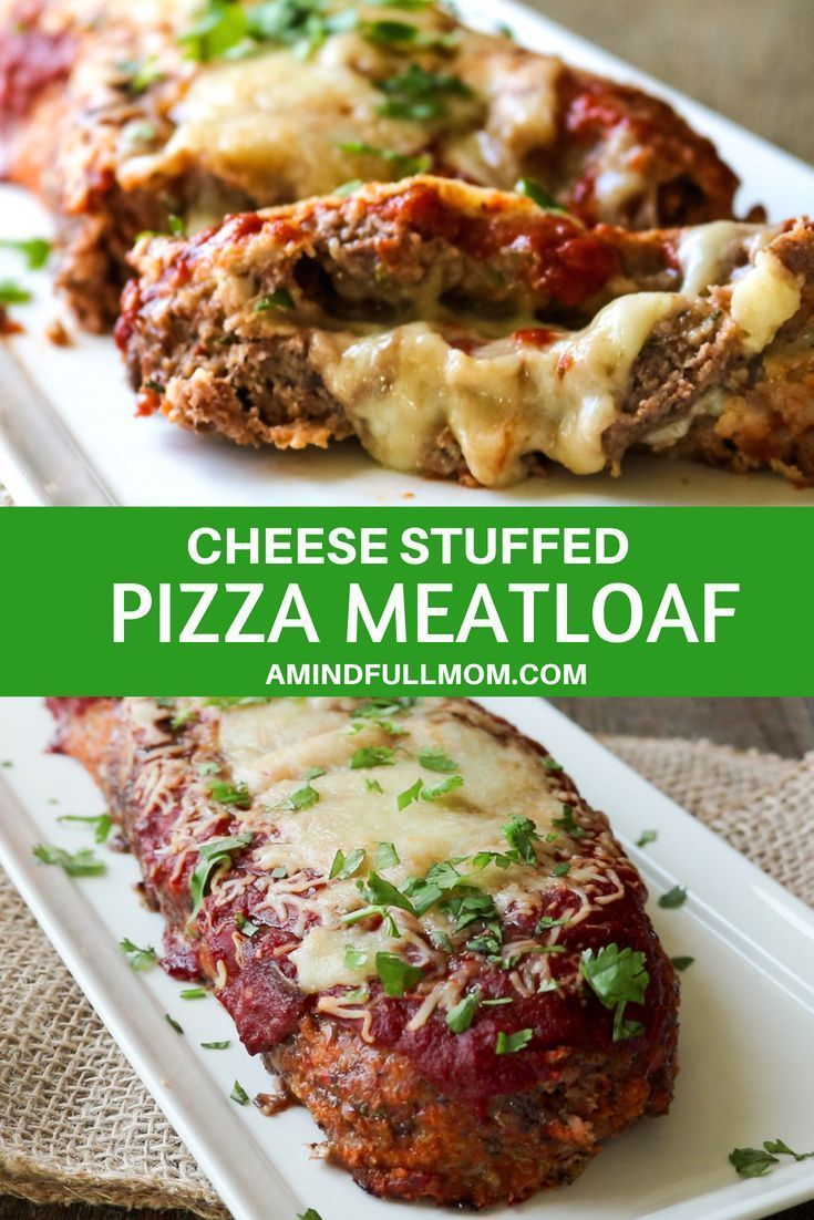 This Stuffed Meatloaf Is Made With Ground Beef Italian Sausage And Pizza Seasonings And Stuffed With Pizza Meatloaf Traditional Meatloaf Good Meatloaf Recipe