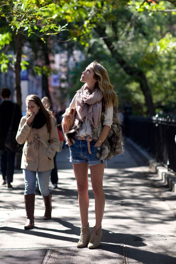 On the Street….Washington Square Park, New YorkWarm Autumn, Fashion, Ankle Boots, Funky Shoes, Street Style, Fall Outfit, Faux Fur Vest, Jeans Shorts, Denim Shorts