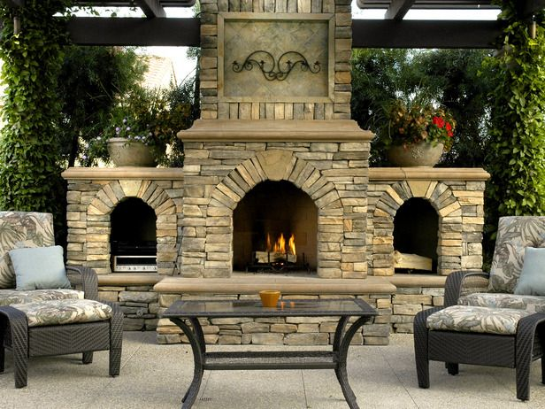 Use your patio even in cool weather by installing an outdoor fireplace. This one also stores stereo equipment and extra firewood. (Photo by Scott Cohen of The Green Scene) From DIYnetwork.com