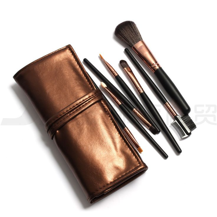 Hot Sale Professional 7 pcs Makeup Brush Set tools Make-up Toiletry Kit Wool Brand Make Up Brush Set Golden Case 5 Colors #Affiliate