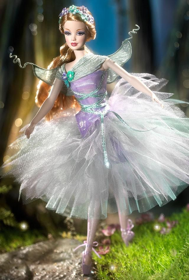 Barbie® Doll as Titania from Shakespeare's A Midsummer Night's Dream. As part of a special ballet series, her feet are in the pointe position!