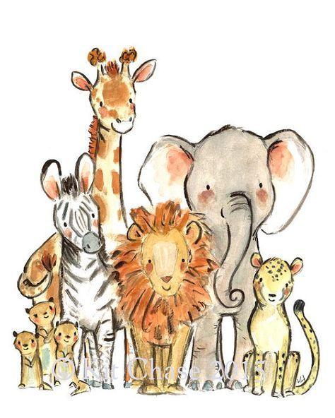 Safari nursery art, elephant wall art, Wild Safari, Giclée Print, Kit Chase artwork, 5×7, 8×10, 11×14