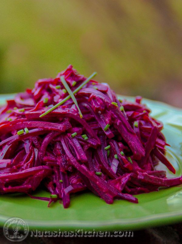 This beet salad is easy and quite tasty. I love a good beet; from my head down to my feet. They're so healthy and used quite often in Russian and Ukrainian cooking; especially in borscht. Kids love that they're sweet… I love that they're sweet!...