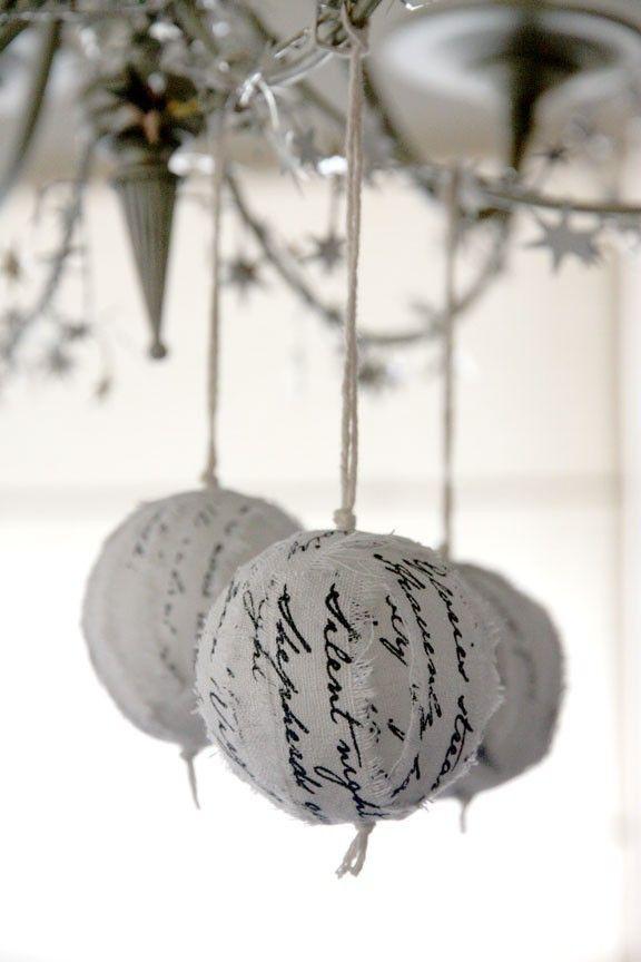 Christmas hymn ragball ornaments - White-Silver (set of 3). $25.00, via Etsy.