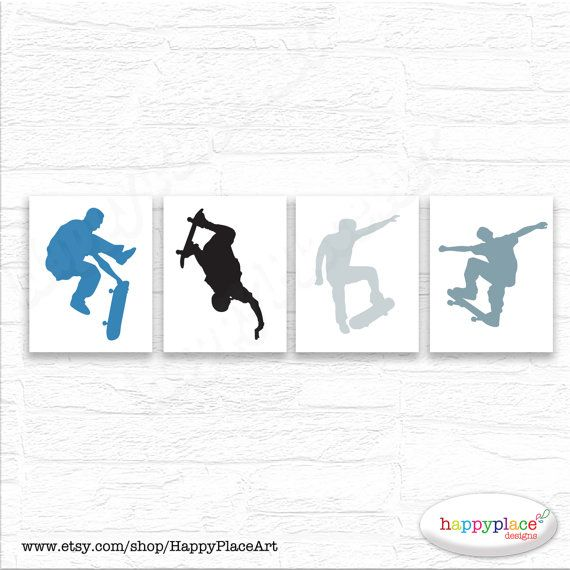 Skateboarder Prints for Teen Bedroom or Retreat. by HappyPlaceArt