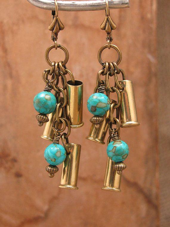 Bullet Casing Earrings Triple 22 Caliber Brass Bullet