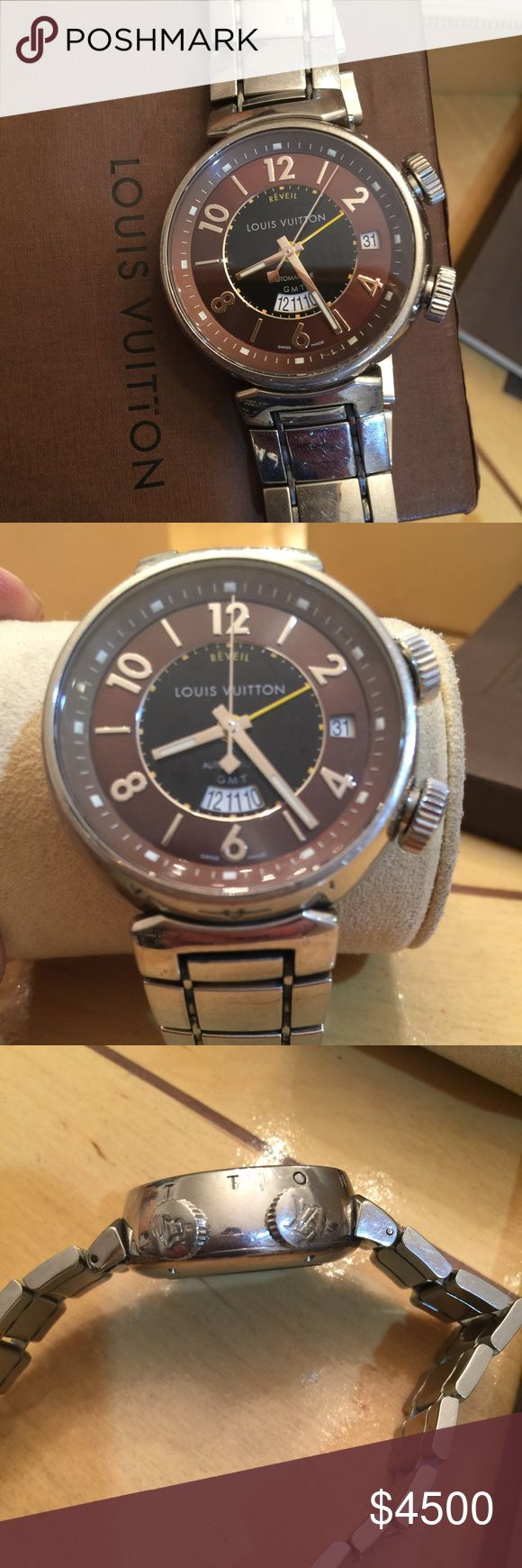 LOUIS VUITTON MENS WATCH 💯% authentic Reveil automatique GMT / caliber LV 113 /thirty one jewels 💎 Swiss made,/wrist band stainless steel Swiss made/  with alarm , date at 3 o'clock,last service at Louis Vuitton  store in San Diego CA on January 2016 .it comes with original box and, book service, this is one unique watch, metal wrist was ordered separately cost $1,000.00 and watch $10,000.00 +tax Louis Vuitton Accessories Watches