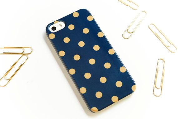 LOVE this with the tough case too! Preppy iPhone 6 Case Navy And Gold Polka Dot by JoyMerrymanStore