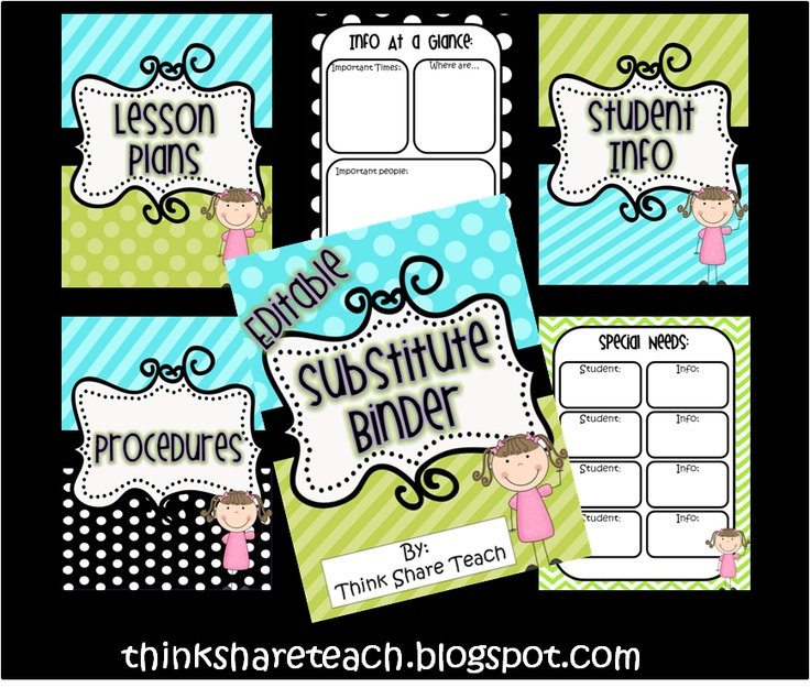 Editable Substitute Binder: Green, blue, and black polka dot theme FREE  Think * Share * Teach