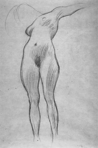 "Floating woman with outstretched arms (Study for ""Medicine"") by Gustav Klimt. 1897"