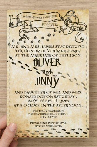 50 PRINTED Custom Harry Potter Book Page/Marauders Map Wedding Invitations! Choose Verbiage, Font & More! Great for Birthday, Shower, Etc!