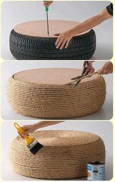 Já pensou transformar um pneu velho em um banquinho para o jardim? Com alguns metros de corda, cola e um papelão durinho para a tampa, isso é possível!