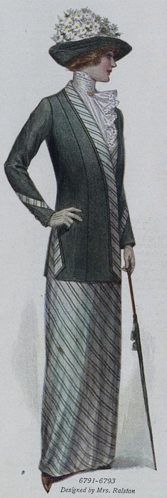 Suit with Matching Striped Shirt and Skirt Edwardian