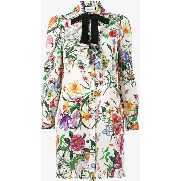 Gucci Floral Snake print shirt dress ($1,830) ❤ liked on Polyvore featuring dresses, long shirt dress, white ruffle dress, long-sleeve shirt dresses, floral shirt dresses and flower print dress