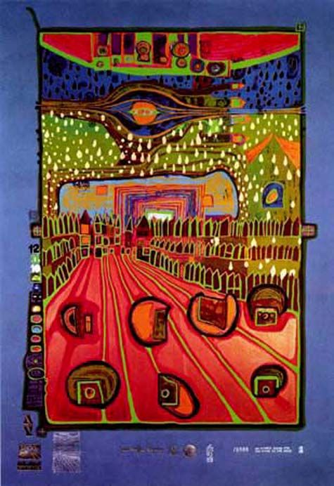 "Hundertwasser, ""Street for Survivors"" 1971-72. Sheet No. 2 in the portfolio ""Look at it on a rainy day"". Silkscreen in 17 colors, including 1 phosphorescent and 1 copper, with metal imprints in 3 colors on blue-grey paper. Format 670 x 500. Edition of 3,000."
