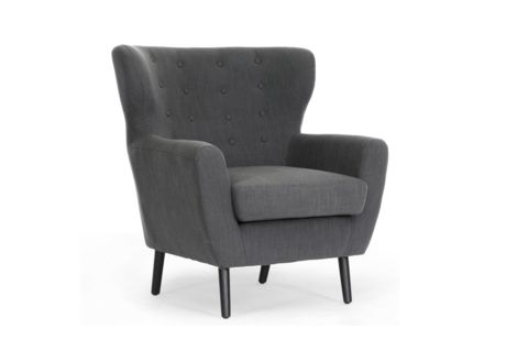 Lombardi Dark Gray Linen Modern Club Chair www.oldbonesco.com