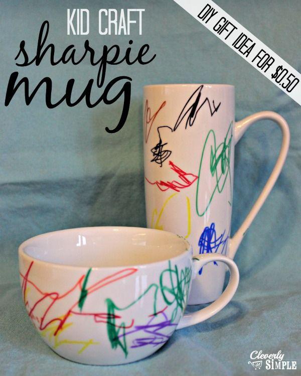 Kid Craft Sharpie Artwork on Mug. using Sharpie Oil Based Paint Pens work best.
