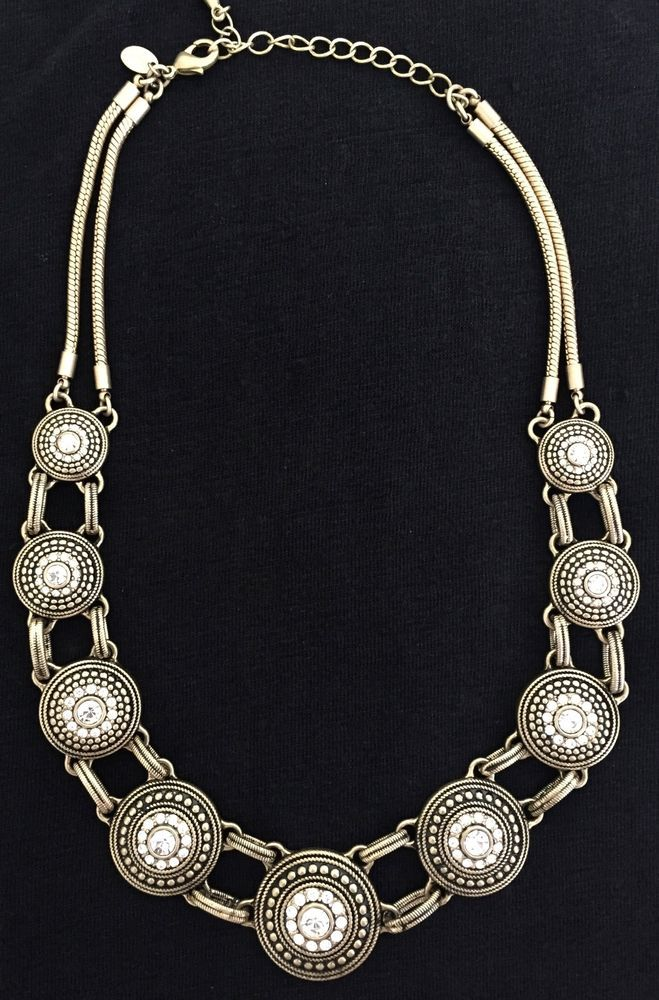 """Lia Sophia """"Tudor"""" Cut Crystals Gold Statement Necklace 18-21"""" 