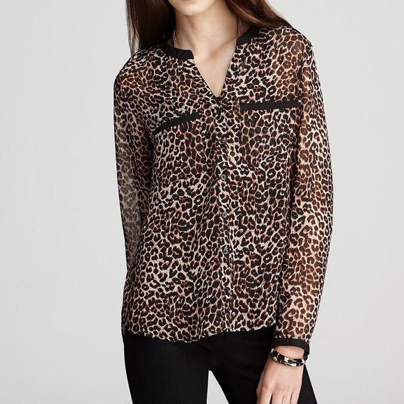 Cheetah print shirt Great condition. The shirt is sheer. I also have the one without sleeves. ❌ No trades. ❌No negotiating through comments. ❌No PayPal. Make me an offer. Olive & Oak Tops