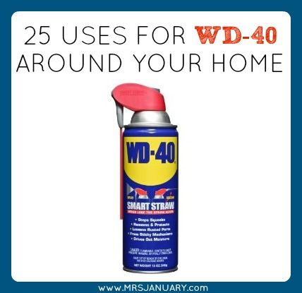 This is such an amazing product! WD-40 can be used for more than just fixing squeaky door hinges! Here are 25 ways to use it around your home. Love this!